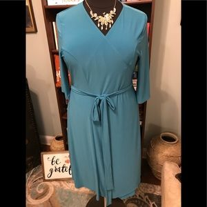 Kiyonna Teal Wrap Dress Size 2